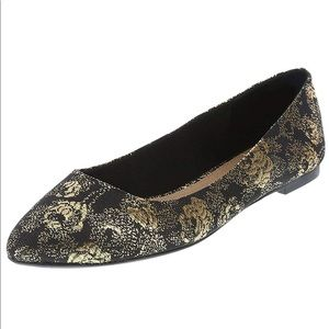 Christian Siriano patterned gold flats.  NWT.